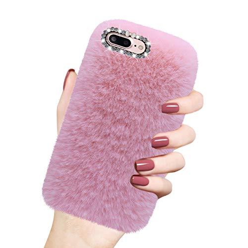 Cover in Peluche per iPhone 7 Plus / 8 Plus (5,5'), Misstars Morbido Pelliccia Artificiale Custodia con Bling Diamante Design Inverno Caldo Flessibile Silicone TPU Protettiva Bumper, Rose
