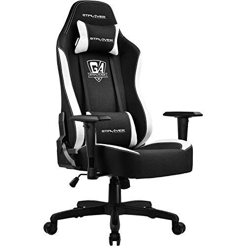 GTPLAYER Gaming Stuhl Bürostuhl Gamer Ergonomischer Stuhl Einstellbare Armlehne Einteiliger Stahlrahmen von der Leinen machartige Oberfläche Schwarz