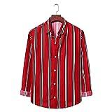 D-Rings Camisa de hombre suelta, informal, manga larga, rojo, XL