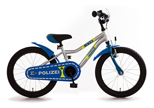 Polizei Polizei Kinderrad 18� K-Frame R�cktrittbremsnabe mit reflektierenden Stickern 18 Zoll Kinderfahrrad silber