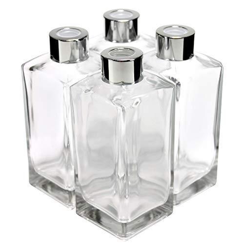 Botella difusor de vidrio frasco difusor de cristal cubótico con tapas plateadas, juego de 4–5.5pulgadas de alto, 250ml 8.5oz accesorios de fragancia uso para bricolaje conjuntos de difusor de