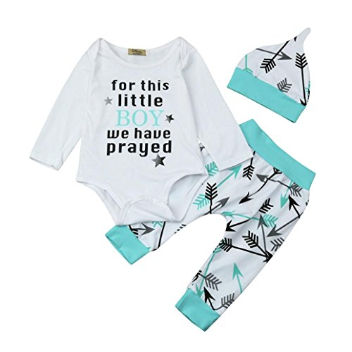 LMMVP Infantile Bébé Fille Garçon Impression Tops Chemise Pantalon Chapeau Vêtements Ensemble 1-5Ans,Bébé Ensemble de Vêtements (80(6-12M), blanc)