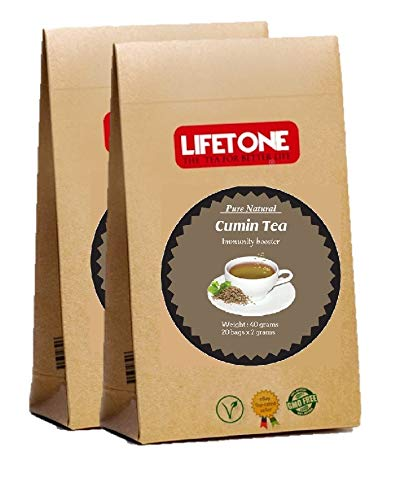 lifetone the tea for better life, Té de comino | Suplemento herbario | Té laxante | 40 bolsitas de té Pack de 2