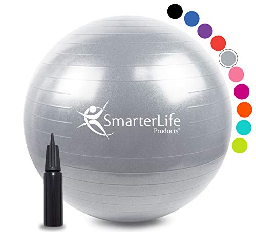 Exercise Ball for Yoga, Balance, Stability from SmarterLife - Fitness, Pilates, Birthing, Therapy, Office Ball Chair, Classroom Flexible Seating - Anti Burst, Non Slip + Workout Guide (Silver, 45cm)