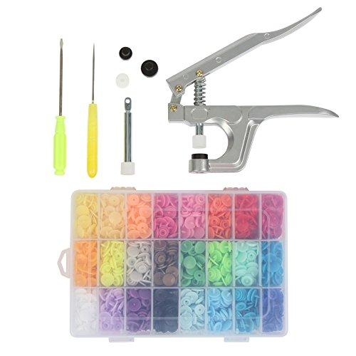 Letech® Snaps Zange mit 360 Set T5 Druckknöpfe in 24 Farben Nähfrei Buttons für DIY Basteln
