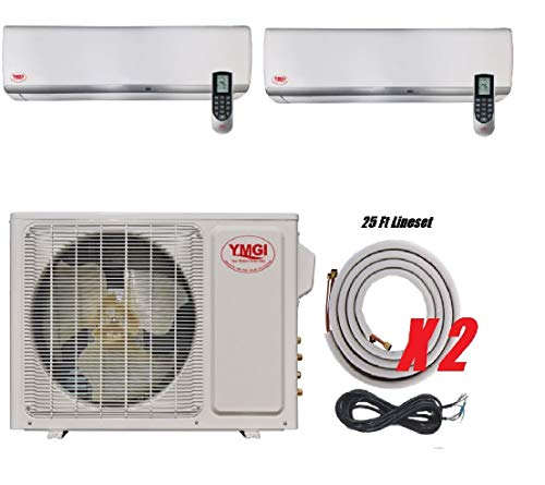 YMGI Two Zone 30000 BTU 2 Zone 12000 18000 22 Seer Ductless Mini Split Air Conditioner with Heat Pump with 25 Ft Installation Lineset for Home and Business
