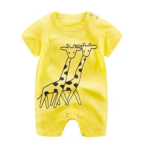 Riou-baby Jumpsuits Babykleidung, Mädchen Jungen (0-24 Monate) Karikatur Druck Overalls Sommerkleidung Sommer Party Spielanzug Strampler Bodys Einteiler (Gelb, 12-18 mths)