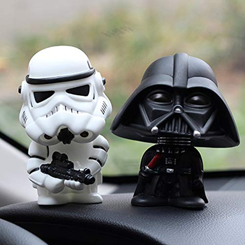 kgftdk 2 Stücke Auto Ornament Mini Schwarz Darth Vader Weiß Stormtrooper Modell Star Wars Action Figure Puppe Auto Innen Auto Dekoration Geschenk