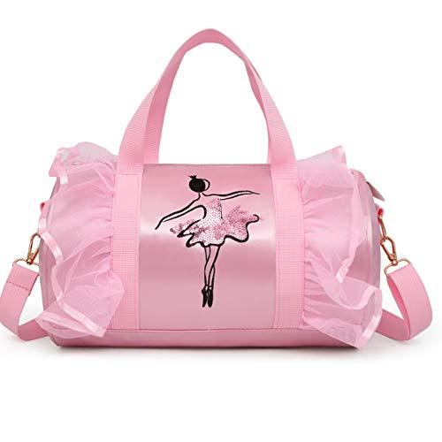 Anpter - Bolsa de baile para niña, bolsa de deporte, bonita y latina, bandolera, para niños, ballet, mochila bordada para niñas, regalo (rosa bolsa de deporte para niña)