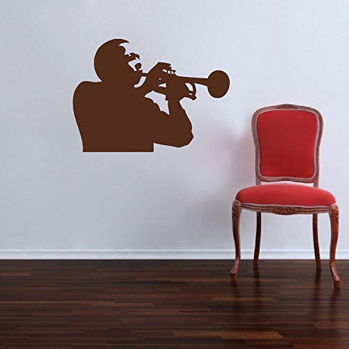 Trompet Speler Muursticker Trumpeter muur Vinyl Muziek Muursticker Trompet Muziek Muursticker Blues Jazz Muziek Muur Art a84