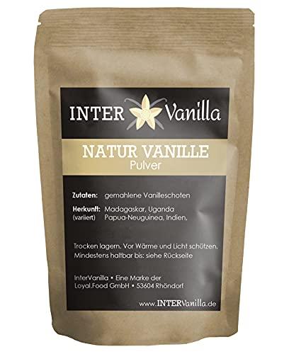 InterVanilla Natur Vanille Pulver 50g. Aus 100% echten Premium Vanilleschoten. Vanilla bean powder. Vanillepulver ohne Zusätze, ohne Zucker