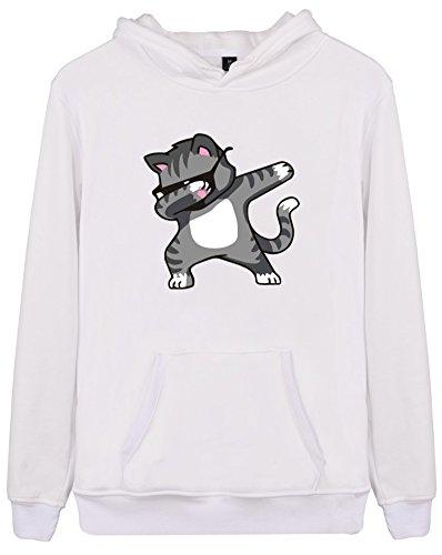EUDOLAH Femme Pull Sweat-Shirt à Capuche Autonome Animaux imprimés Manches Longues Chat Blanc 3XL