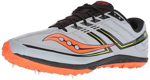 Saucony Men's Kilkenny XC 7 Cross Country Running Shoe, Grey/Black/Orange, 11.5 M US