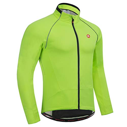 qualidyne Cycling Bike Jacket for Men, Winter Thermal Running Jacket Windproof Breathable Reflective Softshell Windbreaker Green