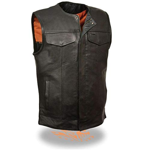 Milwaukee Leather MLM3511 Men's Black Collarless Snap and Zipper Club Leather Vest with Gun Pockets - X-Large