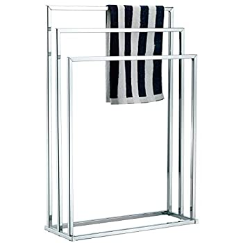 MyGift Freestanding Towel Rack 3 Tier Metal Towel Bar Stand Silver-Tone Chrome Plated