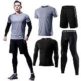 メンズ トレーニングウェア ランニング シャツ 4点セット スポーツウェア コンプレッションウェア 長袖 半袖 ジム tシャツ メンズ アウトドア ジョギングウェア グレー Gray-4P-M