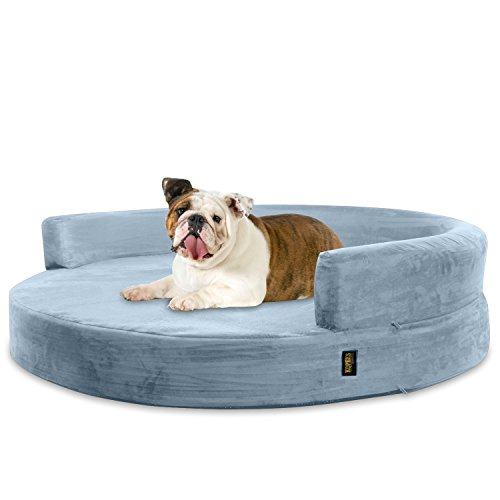 KOPEKS Deluxe Orthopedisch Memory Foam ROUND Bank Lounge Hond Bed, Large, Grijs