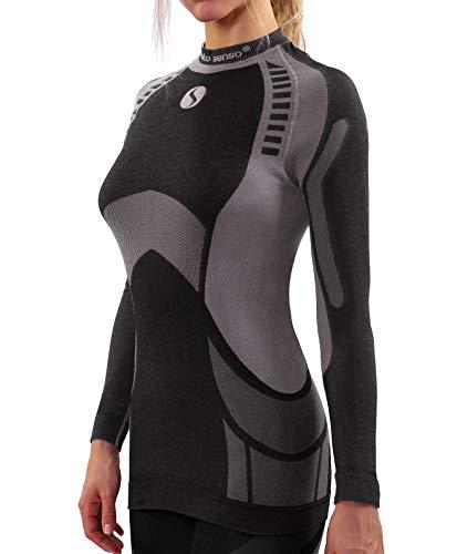 Sesto Senso® Femme sous-Vêtement Thermique Maillot de Corps Fonctionnel à Manches Longues Haut Base Layer Thermo Active (XL, Gris)