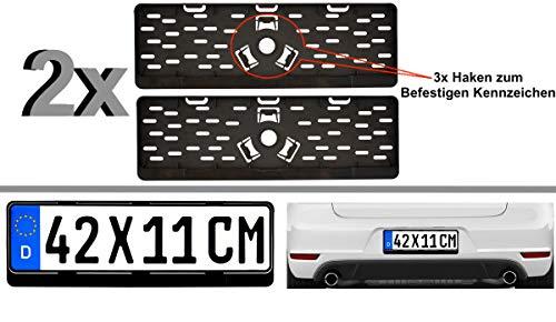2x Kurz Kurze Kennzeichenhalter Nummernschildhalter 42 x 11 cm 420 x 110 mm (Für Kurze Kennzeichen im Format 420 x 110 mm) Material bruchfester ABS Kunststoff Schwarz (Unlackiert)