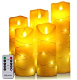 DANIP LED flameless Candle, with Embedded Fairy String Lights,5-Piece LED Candle, with 10-Key Remote Control, 24-Hour Timer Function, Dancing Flame, Real Wax, Battery-Powered. (Ivory White)