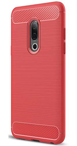 XINFENGDI Meizu 15 Hülle, Tasche mit Stoßdämpfung Robuste TPU Stylisch Karbon Design Handyhülle Hülle Hülle für Meizu 15 - Rot