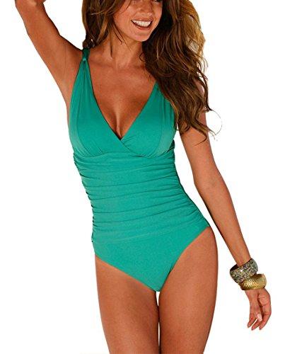DFXIU V-Collo Costume da Bagno intero Donna Push up Monotoni Retro Tankini Regolabile Costume da Mare Sexy Pezzo Intero(S-4XL) (XXL(EU38-40), Verde)