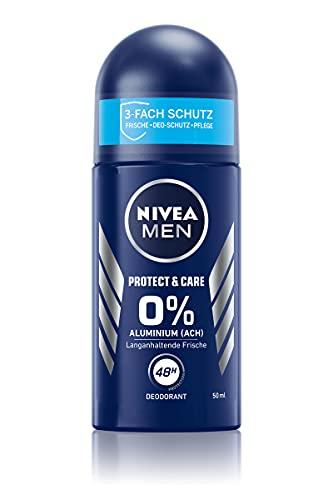 NIVEA MEN Protect & Care Deo Roll-On (50 ml), sanftes Deo ohne Aluminium (ACH) für ein langanhaltend frisches Hautgefühl, pflegendes Deodorant mit 48h Deo-Schutz
