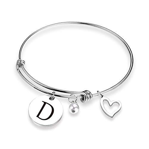 Initial Bracelet Letter Bracelet with Heart Charm Memory Bracelet Jewelry Gift for her (BR-D)