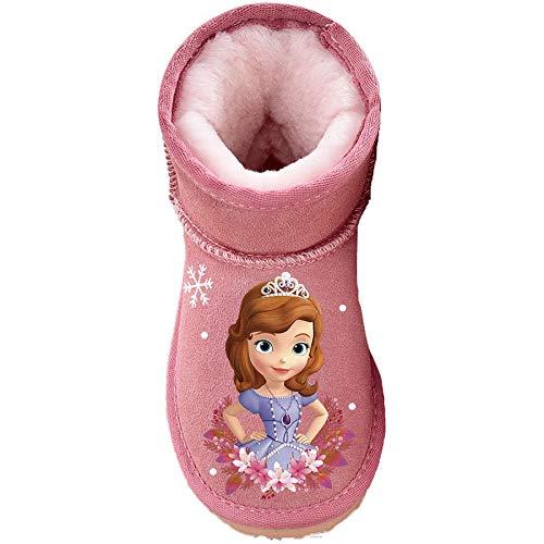 ELSA Winterschuhe Mädchen Kinder Winterstiefel Anna und Elsa2 Gefütterte Eiskönigin 2 Schneestiefel Schlupfstiefel (princess snow Pink, numeric_27)
