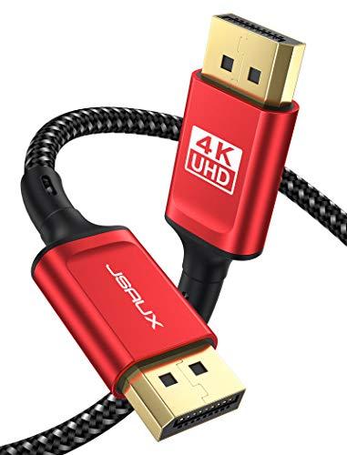 JSAUX 4K Displayport Kabel 3M, DP Kabel [ 4K@60Hz, 2K@165Hz ] Displayport auf Displayport Kabel DP 1.2 zu DP 144hz Kabel Nylon Geflochten für Laptop PC Projektor TV Gaming Monitor usw Rot