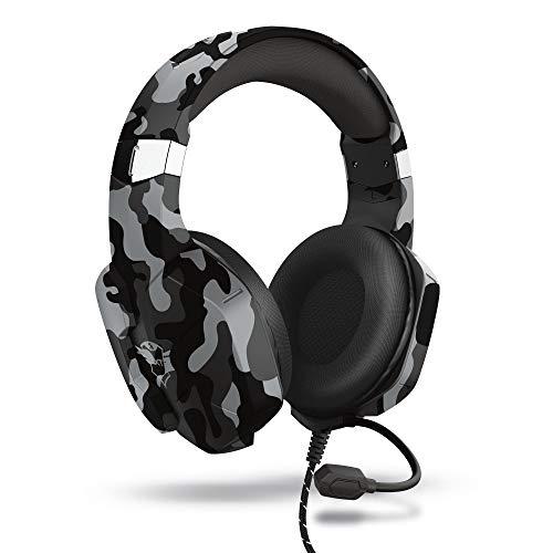 Trust Cascos Gaming para PC, Playstation & Xbox GXT 323K Carus - Auriculares Gamer con Micrófono Flexible, para PC, PS4, PS5, Xbox Series X (S) - Negro Camuflaje