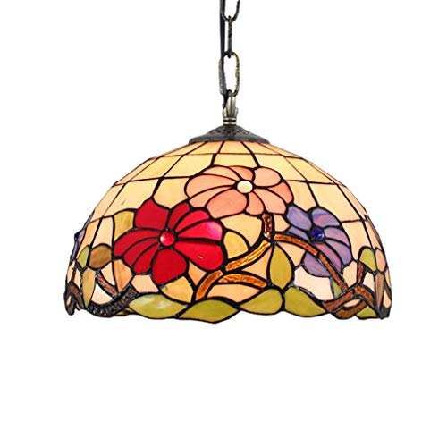 YUNZHI Durable Exquisite Creative Pendent Light, Chandelier, European Retro Morning Glory/Stained Glass Art Pendent Lamp for Dining Room Living Room