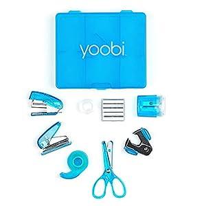 Yoobi Blue Mini Office Supply Kit – Mini School Supplies Kit for Kids & Adults – Includes Scissors, Mini Stapler, Staple Remover, Staples, Tape Dispenser & More – School, Home or Office Supplies Kit