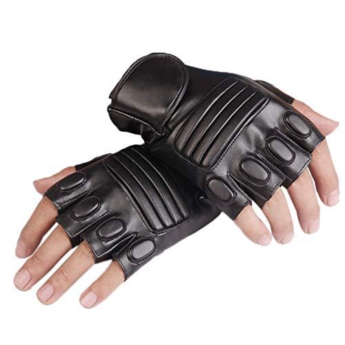 MHGLOVES Herren Fingerlose Handschuhe, Leder Elastic Combat Tactical Snipe Handschuhe, Reiten Motorradfahren Outdoor Sports Half Finger Handschuhe (1 Paar)