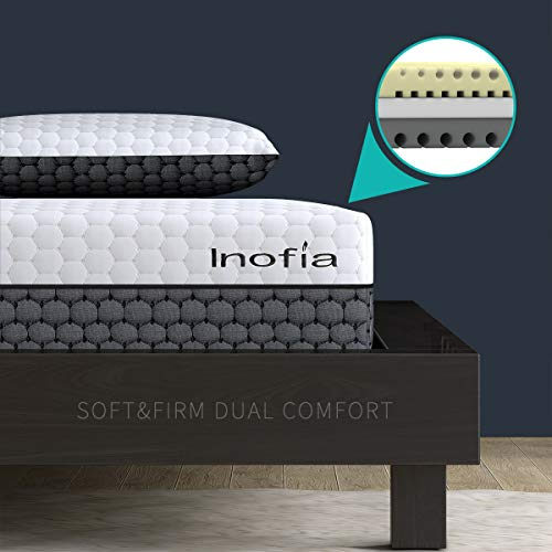 Inofia Double Memory Foam Mattress,2 in 1-Soft and Firm Two Sided Flippable Mattress,Ergonomic Divided Zoned Cold Foam,Washable Cover,OEKO-TEX 100,22cm High,100Night Trial