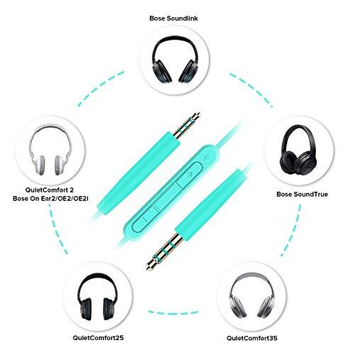 QC35 Kabel Audiokabel für Bose QuietComfort 35 QuietComfort 25 QC25 QC35 OE2 OE2i Soundlink SoundTrue Kopfhörer, Ersatzkabel mit Mikrofon und Lautstärkeregler, für iOS und Android Gerät (Grün)
