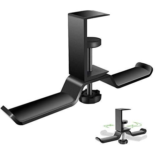 Simpeak ヘッドホンスタンド ヘッドフォンハンガー ホルダー 360度回転可能 装着簡単 多機能 アルミ製 ケーブル/イヤホン/ヘッドホン/バッグ/傘/服など掛け可能 机/棚/曲面に対応