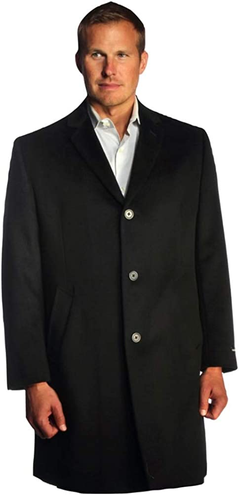 Big and Tall Luxury Wool Blend Topcoat in Black 3/4 Length to Size 60