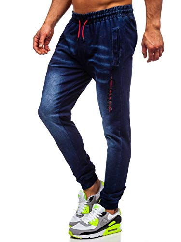 BOLF Herren Jeans Jogger Denim Style Sweathose Jogg Jeans Used Look Jeanspants Destroyed Freizeit Casual Style Slim Fit Narrow Leg J.Style KK1102 Dunkelblau L [6F6]