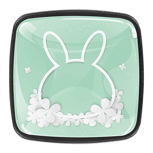 Tirador de cajón de 30 mm, 4 piezas, de cristal, para el hogar, armarios de cocina, diseño de flores blancas en forma de conejo.