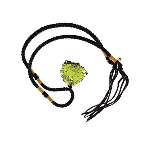 Ayaaa Collar de Cristal de moldavita Colgante de Piedra Irregular Piedra de energía de Cristal Natural Piedra de energía de Cristal Grueso Artificial Multifuncional para Hacer Joyas de Moda