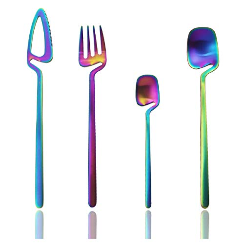 JASHII Hangable Silverware Set, Matte Rainbow Flatware Cutlery Set Service for 2, Satin Finish 8 Piece Stainless Steel Utensils Set for Home and Restaurant, Dishwasher Safe(Rainbow)