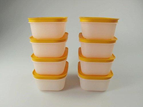 TUPPERWARE 450 ml (8) Gefrier-Behälter Eis-Kristall Eiskristall weiß-orange 29494