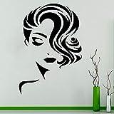 wZUN Calcomanías de salón de Cara de Mujer Elegantes calcomanías de salón de Belleza calcomanías de Vinilo decoración de Peinado 57x81cm