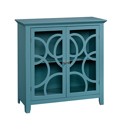 Sauder Shoal Creek Elise Display Cabinet, Moody Blue finish