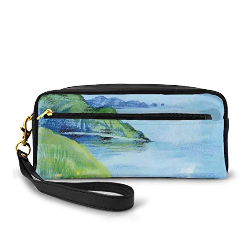 Pencil Case Pen Bag Pouch Stationary,Watercolor Effect Idyllic Green Pasture and River Theme,Small Makeup Bag Coin Purse