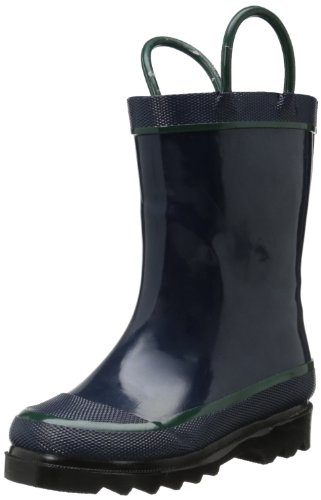 Western Chief Kids Waterproof Rubber Classic Rain Boot with Pull Handles, Navy, 10 M US Toddler