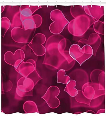 ABAKUHAUS Hot Pink Duschvorhang, Nettes Herz Verschwommen, Seife Bakterie Schimmel und Wasser Resistent inkl. 12 Haken und Farbfest, 175 x...