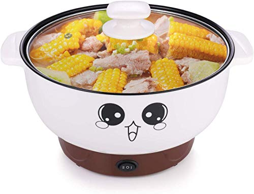 110 V,4 In 1 Multifunction Electric Skillet,Non-Stick Hot Pot,Stainless Steel Rice Cooker/Noodle Cooker,Portable Frying Pan & Roaster,Mini Stockpot with lid.